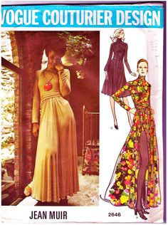 Vintage Vogue Couturier Design Pattern 2646 Evening Dress with Peek-a-Boo Shorts by Jean Muir