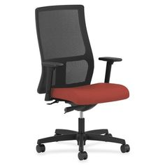 HON Ignition High-Back Mesh Desk Chair Upholstery: Carbon, Seat Mechanism: Synchro Tilt, Back Angle, Seat Glide, Upholstery Material: Vinyl Black Office Chair, Home Office Chairs, Office Desk, Office Furniture, Business Furniture, Chairs For Bedroom Teen, Wood Waste, Work Chair, Comfortable Office Chair