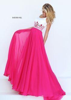 Fuchsia Sherri Hill 50410 Chiffon Long Prom Dress different color though Sherri Hill Prom Dresses, Prom Dresses 2017, A Line Prom Dresses, Cheap Prom Dresses, Dance Dresses, Ball Dresses, Formal Dresses, Dress Prom, Chiffon Dress