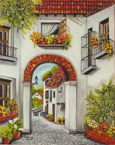 paisajes y pinturas coloniales ile ilgili görsel sonucu Pictures To Paint, Art Pictures, Pintura Colonial, Painting & Drawing, Watercolor Paintings, Fachada Colonial, Spanish Style, Landscape Art, Painting Inspiration