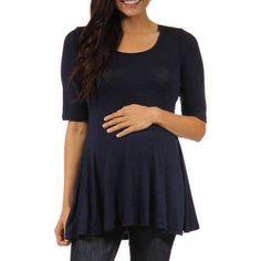 24/7 Comfort Apparel Women's Maternity 3/4-sleeve Tunic, Size: XL, Blue