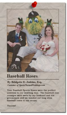 SportsThemedWeddings.com Reviews - Our baseball roses are a great way to accent any wedding!  #baseballwedding  #stwdotcom