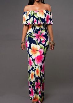 Short Sleeve Flower Print Maxi Dress - USD $25.01