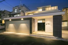 Modern Fence Design, Entrance Lighting, House Front Design, Rooftop Garden, Japanese House, Future House, Exterior, Mansions, House Styles