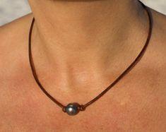 Collar de perlas de Tahití perla y perla por LeatherPearlJewelry