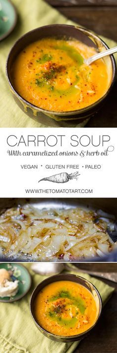 Caramelized Onion & Carrot Soup (Paleo Soup And Stews) Vegan Carrot Soup, Vegan Soups, Vegan Dishes, Carrot And Celery Soup, Carrot Soup Easy, Tomato Carrot Soup, Carrot Potato Soup, Pumpkin Carrot Soup, Vegan Tomato Soup