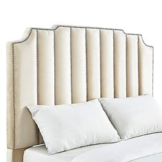 Verona Home Liza Art Deco Velvet Full Headboard in Beige