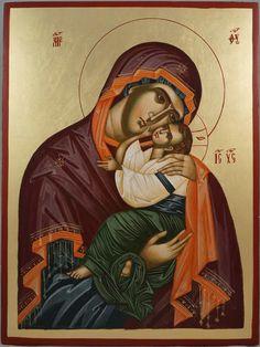 The Virgin Eleusa Large Hand-Painted Byzantine Icon