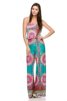 Sexy Strapless Tube Top Rompers Jumpsuit Tribal Hippie 70's Palazoo Pants S M L