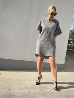 3/4 Bell Sleeve Grey Shift Dress