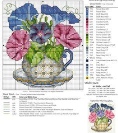 #9 September Teacup, Morning Glory Free Cross Stitch Pattern
