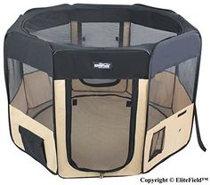 Dog Houses - EliteField 2Door Soft Pet Playpen Exercise Pen Multiple Sizes and Colors Available for Dogs Cats and Other Pets 52 x 52 x 32H BlackBeige >>> You can get additional details at the image link. (This is an Amazon affiliate link)