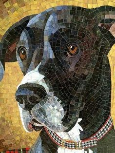 Chloe, glass mosaic by Donna Van Hooser Stained Glass Art, Mosaic Glass, Mosaic Tiles, Dog Quilts, Animal Quilts, Mosaic Crafts, Mosaic Projects, Mosaic Patterns, Mosaic Designs
