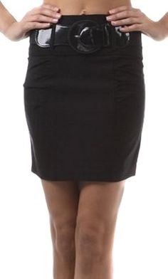 Sakkas Petite Shirred Stretch Pencil Short Skirt with Wide Belt