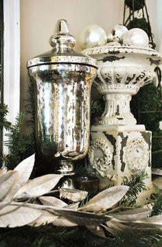 Mercury Glass and Shabby chic Decor Christmas Mantels, Christmas Past, Christmas Decorations, Holiday Decor, Christmas Ideas, Silver Christmas, Vintage Christmas, Home Decor Accessories, Decorative Accessories