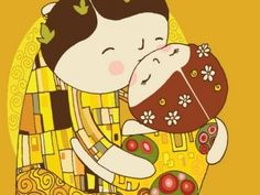 It's like my intrest in Japanese Pop Art and love for Gustav Klimt made a folk art baby! Gustav Klimt, Klimt Art, The Kiss, Japanese Pop Art, Bd Comics, Love Cards, Mother And Child, Cute Illustration, Art Lessons