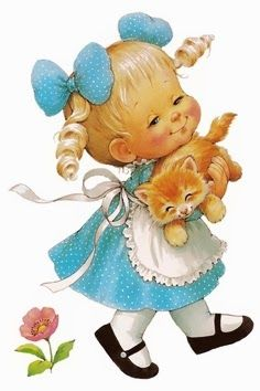 Girl and cat...this is how it starts (I Love this pix!!  Reminds me of me when little!!  Love pets!!!  (& the rose too!! : )