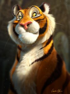 """I designed and animated Rajah for the animated feature, """"Aladdin"""". I've been having fun revisiting some of my old characters and painting them as if they were real.   The Art of Aaron Blaise"""