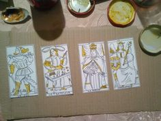 Hes Marseille Tarot reconstruction, first four trumps , partially coloured