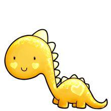 Thema dinosaurus: gele dino Art Drawings For Kids, Cute Animal Drawings, Kawaii Drawings, Cute Drawings, Anime Animals, Cute Animals, Kawaii Doodles, Cute Clipart, Pet Rocks
