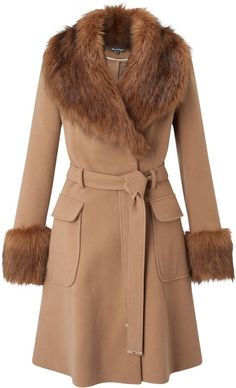 Miss Selfridge Faux Fur Cuff And Collar Coat