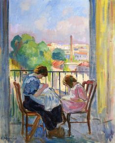 Girl Sewing at the Window (Henri Lebasque - 1911)