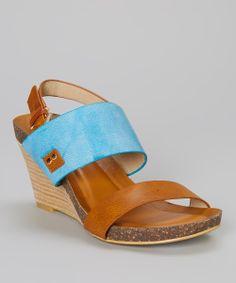 Blue & Tan Bullonia Wedge Sandal