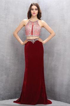 03c7b3c1894 2 Pieces Burgundy Long Mermaid Beading Sparkly Charming Prom Dresses Z0609
