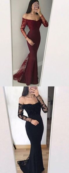 modest burgundy mermaid prom dresses with sleeves, simple off the shoulder black evening gowns, unique black long sleeves party dresses #promdress