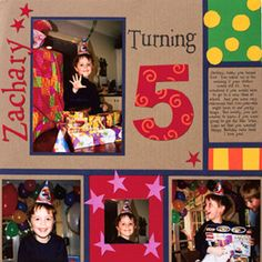 Boy Birthday page by Jen Lessinger  scrapbooksetc.com