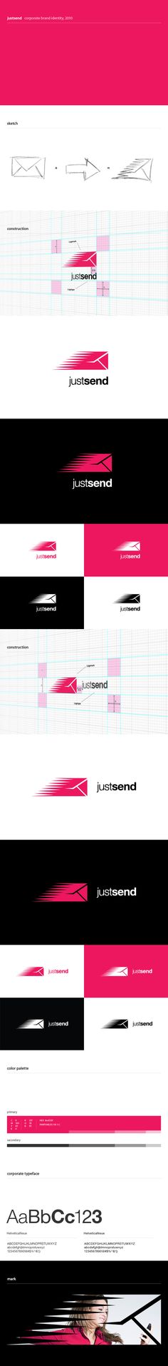 Logo design process for JustSend
