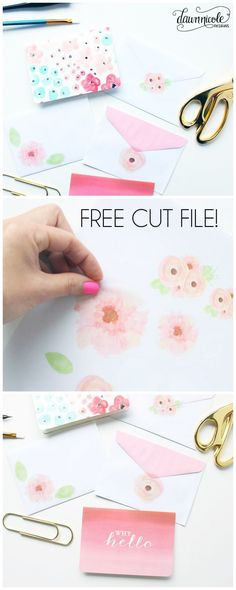 Silhouette Saturday: Watercolor Floral Print & Cut File   bydawnnicole.com