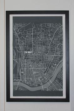 Cincinnati Karte Leinwand Poster 24 x 36 ungerahmt von apartmentb