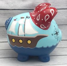 Pirate Bandana Piggy Bank in Blue, Navy, Red and Yellow Personalized Piggy Bank, Personalized Gifts, Hand Painted Ceramics, Porcelain Ceramics, Pirate Bandana, The Little Couple, Piggy Banks, Baby Coming, Pottery Painting