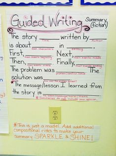 Guided Writing for Summaries (Fiction) Anchor Chart - good model for summarizing fiction, students can plug in their responses and go above and beyond! could work en Français Writing Lessons, Teaching Writing, Writing Activities, Writing Skills, Writing Ideas, Topics For Writing, Writing Strategies, Third Grade Writing, Second Grade