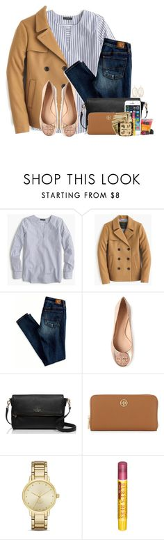 """First day of my internship! Wish me luck "" by flroasburn ❤ liked on Polyvore featuring J.Crew, American Eagle Outfitters, Tory Burch, Kate Spade, Burt's Bees and Kendra Scott"