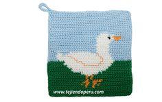 Tutorial: agarrador de ollas con diseño de pato tejido a crochet