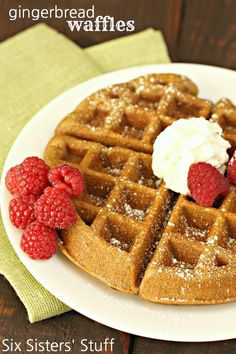 Gingerbread Waffles on SixSistersStuff.com - perfect for Christmas breakfast for brunch!
