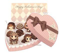 Anime Expo is like a box of chocolates.you don't know what chibi you're going to get xD [thanks, my sweet chibi Chibi Kawaii, Manga Kawaii, Cute Anime Chibi, Kawaii Art, Cute Food Drawings, Kawaii Drawings, Chibi Food, Chibi Characters, Chibi Girl