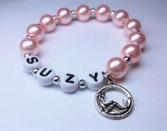 Mermaid name bracelet girls beaded name bracelet with a