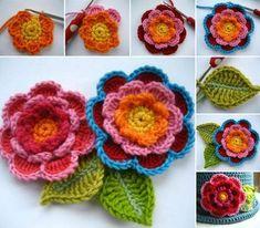 beautiful triple layer crochet flowers.