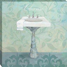 Great Big Canvas 'Damask Bath Sink' Avery Tillmon Graphic Art Print Format: White Frame, Size: H x W x D Painting Frames, Painting Prints, Fine Art Prints, Bathroom Wall Art, Mermaid Bathroom, Bathroom Wallpaper, Bathroom Storage, Canvas Artwork, Canvas Prints