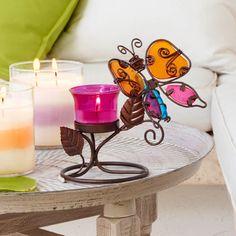 Votivkerzenhalter Gartenfreund von PartyLite, Metall und Glas, inkl. farbigem Votivkerzenglas. H: 17 cm.  Für Votivkerzen und Teelichter (im Votivkerzenglas).