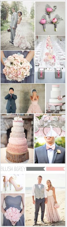 Soft pink or blush works with a number of colors but when it is paired with pewter it looks romantic and modern!