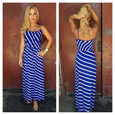 Royal Blue & White Stripe Cotton Maxi Dress