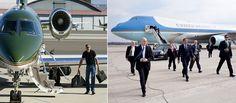 Left Harrison Ford possui oito aviões. Rigth o Air Force One da presidencia, no mom Barak Obama.