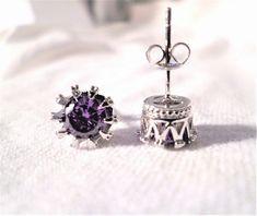 527256e30752 womens Amethyst 10mm crown stud earrings 925 sterling silver  Unbranded   Stud