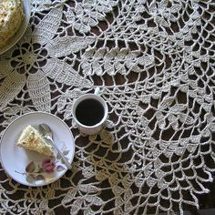 Jute tablecloth Round crochet tablecloth Crocheted rustic