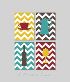 "Kitchen Art Coffee and Wine Chevron Art Prints - Set of (4) - 4"" x 6"", 5"" x 7's"" OR 8"" x 10"" // Modern Kitchen Art Decor"