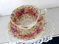 Royal Albert Serena Cup and Saucer, Rich Floral Bone China Teacup, Made in England 13941 Vintage Dishes, Vintage China, Vintage Teacups, Antique Dishes, China Tea Cups, Tea Service, Royal Albert, Tea Cup Saucer, Bone China